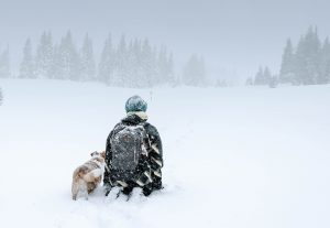 Person kneeling with a dog in the snow