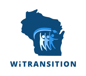 Logo for Wisconsin Transition with three figures and a graduation cap centered on a blue outline of the state of wisconsin