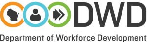 Black icon of Wisconsin in an orange circle; black icon of a person in a blue circle; two arrows icon in a green circle. Logo of the Department of Workforce Development