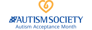 Autism Society Autism Acceptance Month logo of a yellow heart