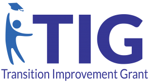 Icon of a person throwing a graduation cap into the air. Next to the letters TIG which stand for Transition Improvement Grant